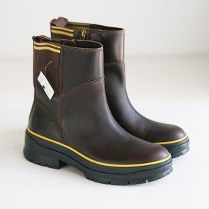 NWT Timberland Brown Leather Lug Sole Fall Winter Casual Short Booties